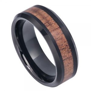 Men's Black Tungsten Carbide Wedding Band Ring Hawaiian Koa Wood Inlay