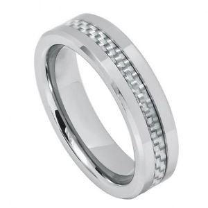 Men's Tungsten Carbide Wedding Band with Gray Carbon Fiber Inlay 6mm Width
