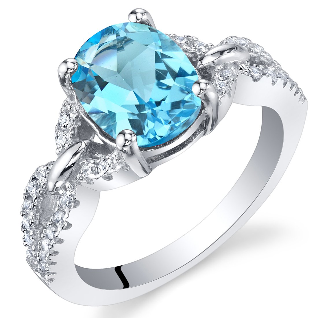 Sterling Silver Oval Swiss Blue Topaz Ring with Twisted Band