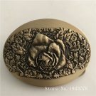 High Quality 8*6cm Oval 3D Rose Solid Brass Belt Buckle With 161g Metal Man Woman Belt Head