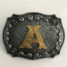 Cool 3D Silver Lace Gold A Initial Letter Belt Buckle 84*63mm 76g Metal Mens Womens Buckles
