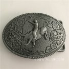 Oval Silver Pattern Western Cowboy Belt Buckle With Metal Man Leather Belt Head