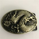 Oval Bronze Dragon Men Belt Buckle With Metal Man Woman Jeans Accessories Fit 4cm Wide Belt
