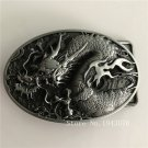3D Silver Dragon Cowboy Belt Buckle With Oval Metal Man Woman Jeans Fit 4cm Wide Belt