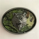 Oval Silver Leopard Head Cowboy Belt Buckles With 98*74mm Metal Mens Jeans Buckle Fit 4cm Wide Belt