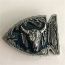 Fashion Man Silver Feathers Bull Metal Mens Jeans Buckle Fit 4cm Wide Belt