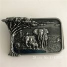 Good Quality Cool Silver Tree Elephant Belt Buckle With Metal Mens Jeans Buckle Fit 4cm Wide Belt