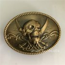Oval 3D Double Knives Skull Solid Brass Belt Buckle With Metal Mens Jeans Buckle Fit 4cm Wide Belt