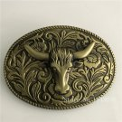 Oval Lace Bronze Bull Men's Belt Buckle With 10*7cm Metal Men Western Leather Belt Head