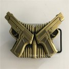 Bronze Gun Bullets Lighter Cowboy Belt Buckle Metal Men Western Leather Belt Head
