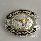 Oval Lace Gold Bull Head Cowboy Belt Buckle Metal Men Western Leather Belt Head