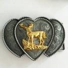 Silver Love Gold Deer 94*66mm Cowboy Belt Buckle Metal Mens Jeans Buckle Fit 4cm Wide Belt