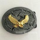 Oval 3D Gold Eagle Cowboy Belt Buckle Metal Mens Jeans Buckle Fit 4cm Wide Belt