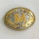 3D Gold M Initial Letter Cowboy Belt Buckle Metal Men Western Leather Belt Head