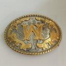 3D Lace Gold W Initial Letter Cowboy Belt Buckle Metal Mens Jeans Buckle Fit 4cm Wide Belt