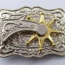 Can Rotate The Gold Star Cowboy Belt Buckle Metal Mens Jeans Buckle Fit 4cm Wide Belt