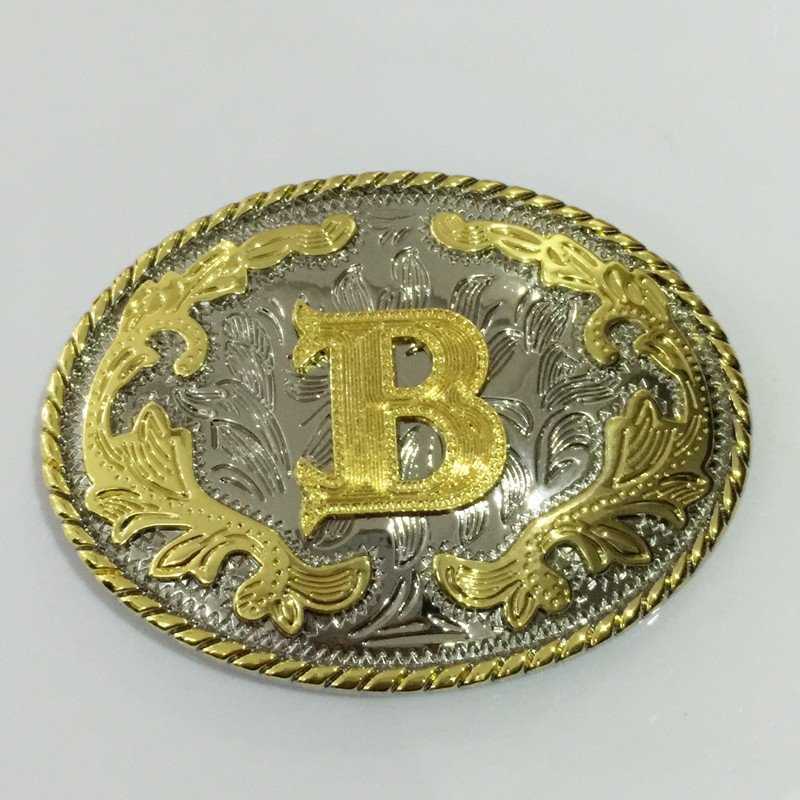 3D Lace Golden Initial Letter B Cowboy Belt Buckle Metal Mens Jeans Buckle Fit 4cm Wide Belt