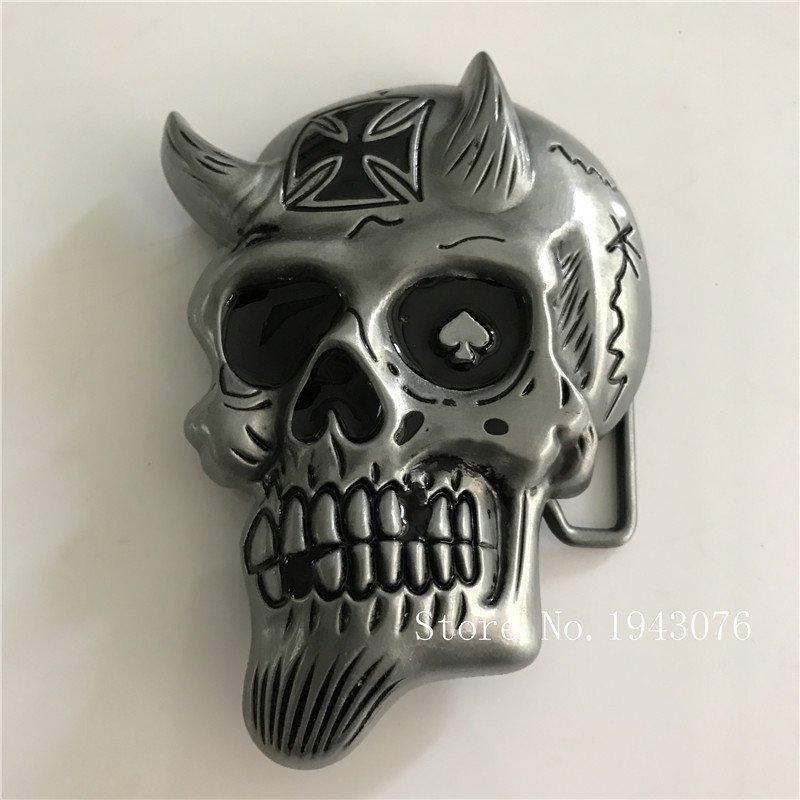 Cool 3D Silver Skull Cowboy Belt Buckle Metal Men Western Leather Belt Head