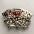 Cool 10JQKA Playing Cards Skull Cowboy Belt Buckle Metal Men Western Leather Belt Head
