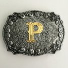 Men Golden P Initial Letter Cowboy Belt Buckle Metal Mens Jeans Buckle Fit 4cm Wide Belt