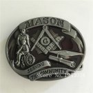Oval Mason 83x67mm 66.9g Cowboy Belt Buckle Metal Men Western Leather Belt Head