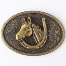 Oval 3D Bronze Horse Head Cowboy Belt Buckle Metal Mens Jeans Buckle Fit 4cm Wide Belt