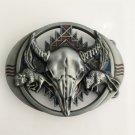 3D Silver Wolf Bull Head Cowboy Belt Buckle Metal Mens Jeans Buckle Fit 4cm Wide Belt