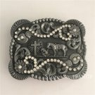 3D Silver Horse Cross Western Cowboy Belt Buckle Metal Mens Jeans Buckle Fit 4cm Wide Belt
