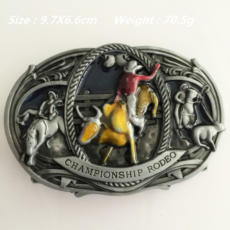 CHAMPIONSHIP RODEO 97*66mm 70.5g Cowboy Belt Buckle Metal Mens Jeans Buckle Fit 4cm Wide Belt
