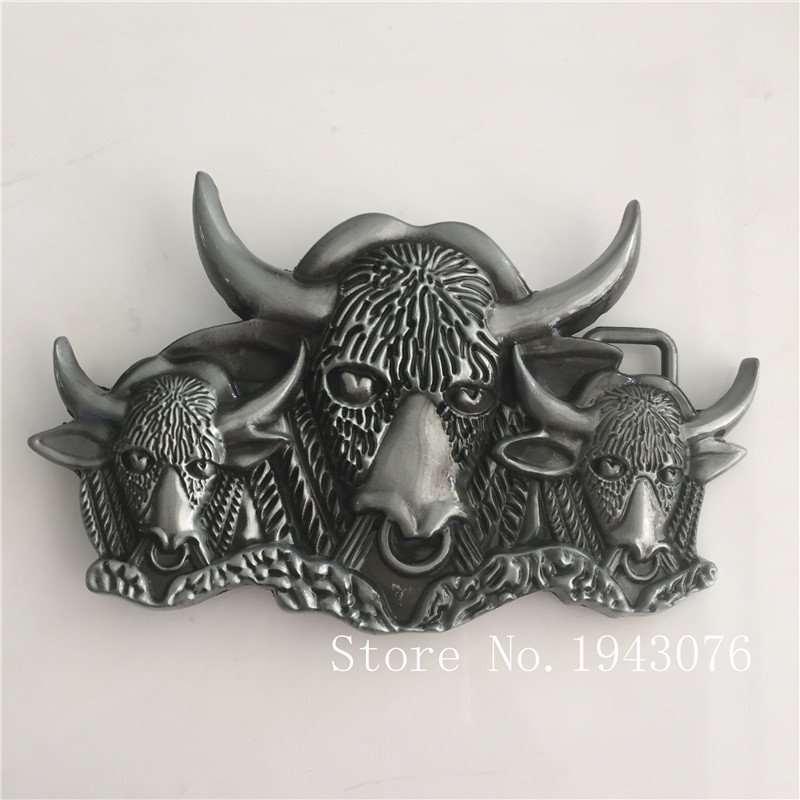 Silver Bull Head Cowboy Belt Buckle Metal Mens Jeans Buckle Fit 4cm Wide Belt