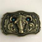 3D Bronze Bull Head Cowboy Belt Buckle Metal Mens Jeans Buckle Fit 4cm Wide Belt