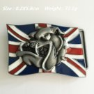 3D UK Flag Bulldog Head Cowboy Belt Buckle Metal Men Western Leather Belt Head