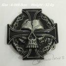 3D Cross Skull Cowboy Belt Buckle Metal Mens Jeans Buckle Fit 4cm Wide Belt