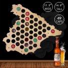 1 Piece Beer Bottle Cap Map Of Spain Wooden Beer Cap Map Collection Hanging Display Map