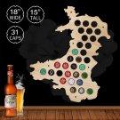 1 Piece Wales Beer Cap Map Bottle Cap Map Hanging Craft Wooden Beer Cap Map Special Collection