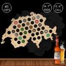 1 Piece Beer Cap Map Bottle Cap Map Of Switzerland Best Gift for Beer Aficionado Wall Decor