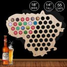 1 Piece Lithuania Beer Bottle Cap Map Collection Art Custom-Made Beer Cap Map Wooden Craft Gift