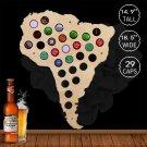 1 Piece South America Beer Cap Map Beer Cap Collect Gadget Art Wall Indoor Decor