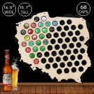 1 Piece Laser Engraved Wooden Hanging Craft Poland Beer Cap Trap Wall Decor Map