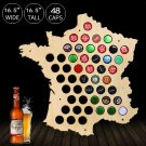 1 Piece Bottle Beer Caps Map of France Creative Laser Engraved Wood Maps Wall Art