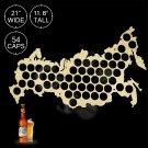1 Piece Wooden Beer Cap Maps Beer Bottle Caps Map of Russia Board Wall Art