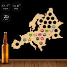 1 Piece Euro Wood Map Cap Catcher European Beer Cap Map Pub Bar Wooden Wall Sign Beer Bottle Cap