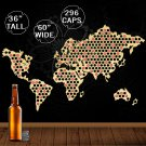 1 Piece World Wooden Map Bottle Beer Cap Map Wall Decor Collect For Bar Club Collector