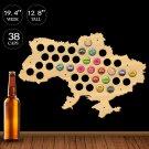 1 Piece Ukraine Map Man Cave Ukraine Beer Cap Map Pub Bar Wooden Wall Sign Beer Bottle Cap