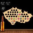 1 Piece Czech Republic Beer Cap Map Pub Bar Beer Bottle Cap Display Wooden Wall Sign