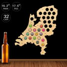 1 Piece Netherlands Beer Cap Map Map Of Holland Beer Bottle Cap Display Holder Wooden Wall Sign