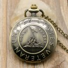 "Remember The History ""United States Veteran"" Bronze Pocket Watch With Necklace Chain"