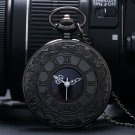 Charm Black Unisex Fashion Roman Number Quartz Steampunk Pocket Watch