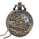 Bronze Hollow Train Locomotive Steampunk Quartz Pocket Watch Women Men Necklace Clock