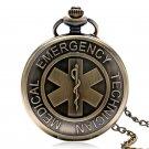 EMT Emergency Medical Technician Paramedic Badge Nurse Doctor Quartz Pocket Watch